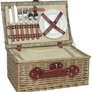 2 Person Chiller Fitted Picnic Basket - Porcelain Plates, Cutlery & Cork Screw