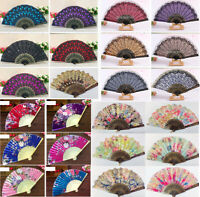 Folding Chinese Spanish Type Dance Wedding Party Lace Silk Hand Held Flower Fan