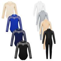 4-14Y Girls Ballet Gymanstics Dance Leotards Jumpsuits Kid Full Bodysuit Costume