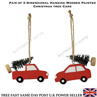 Pair Of Wooden Wood Hanging Painted Car Christmas Ornament Xmas Tree 3D Car New