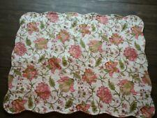 Pillow Sham Standard Pink & Green Floral Jacobean Quilted