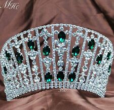 Emerald Large Tiaras Diadem Green Rhinestones Crowns Wedding Beauty Pageant Prom