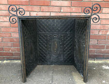 ANTIQUE VICTORIAN CAST IRON HEAVY TIN ORNATE FIREPLACE INSERT INSIDE WALL COVER
