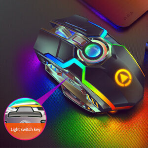 Wireless Gaming Mouse Game Silent Optical 2.4GHz Rechargeable RGB For Laptop PC