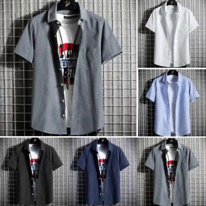 Men's Short Sleeve Button Down Shirts Summer Casual T-Shirt Loose Plain Tops Tee
