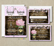 100 Wedding invitations Suite Pink Hydrangea Rustic Style with Envelopes