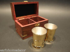 Vintage Antique Style Silver Plated Shot Glass Set With Wood Box