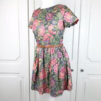 River Island Floral Tapestry Style Summer Skater Dress Size 12 VGC