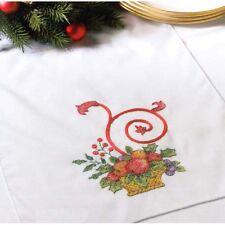 Bucilla Holiday Cornucopia Table Runner  Stamped Linen