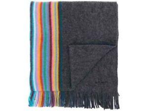 PAUL SMITH Multi Stripe MULTI EDGE Grey Wool Scarf Muffler *Made in Germany*