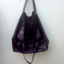 Large Purple Faux Leather Lined Tote Bag Handbag Extra Large