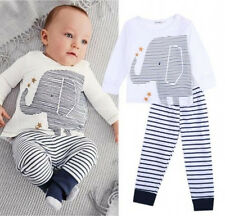 Newborn Baby Boys 2-piece Outfits Cute Elephant Top T-Shirt & Pants Clothing Set
