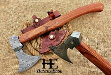 HUNTEX Custom Hand-Forged Damascus 49 cm Long Walnut Wood Outdoor Viking Hatchet