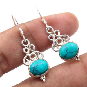 Turquoise Gemstone Earring 925 Solid Sterling Silver HANDMADE Fine Jewelry