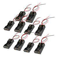 10Pcs Wired Connector 2x1.5V AA Battery Holder Plastic Case Storage Box Black