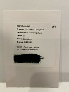 2020-21 Donruss Optic Cole Anthony Rated Rookie Signatures Auto Redemption + 2