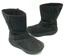 Skechers Shape-Ups Womens 9.5 Black Suede Leather Faux Fur Toning Mid Calf Boots