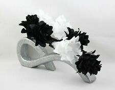 HANDMADE ARTIFICIAL SILK BLACK & WHITE FLOWERS IN LARGE SILVER GLITTER BOW VASE