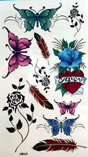 King Horse  Butterflies, Feathers,and Rose Temporary Tattoos #HM069