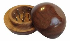 "2"" 2 Piece BALL Wood Tobacco Spice Herb Grinder BUY 2 GET 1 FREE!!! Metal wooden"