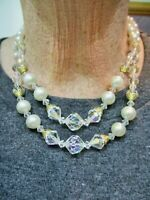 Vintage-1950's Double Strand Faux Pearl Crystal Bead Necklace Adjustable