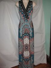 LKNW Renee C Crossover Sleeveless Knit Jersey Summer Maxi Dress Multi Color XS