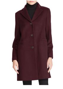NEW $220 Lauren Ralph Lauren Wool Blend Reefer Coat  BURGUNDY Sz 2