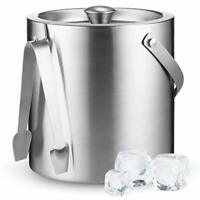 High-Grade Stainless Steel Ice Bucket with Lid and Tongs - 2.8 Litre Premium