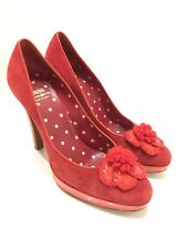MOSCHINO Cheap & Chic - Red Suede Flower Trim High Heel Pumps Shoes 8.5