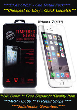 100% GENUINE TEMPERED GLASS FILM SCREEN PROTECTOR FOR APPLE IPHONE 7 - 1 PACK
