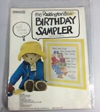 "VTG Paddington Bear Birthday Sampler NIP 11""X14"" Embroidery"