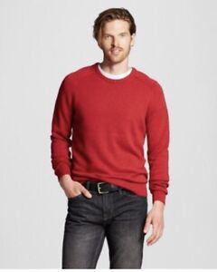 New Merona Mens Sweater Crew Neck Long Sleeve Red Size Medium