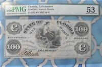 1861 $100 DOLLAR STATE FLORIDA TALLAHASSEE NOTE OBSOLETE CURRENCY (CERTIFIED)