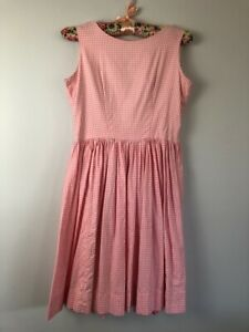 Vintage Girls Pink Gingham DRESS Sz 11/12 gathered skirt sleeveless cotton