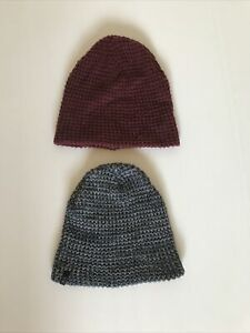 COTTON ON Beanies x 2 Maroon And Blue Marle Bundle