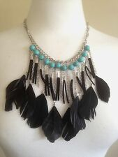 Necklace Silver Turquoise Feathers Tassel Ethnic BohoTribal Gypsy Bohemian N1030