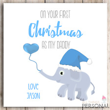 Personalised First Christmas As Daddy or Mummy Card 1st Baby Son Daughter Blue