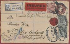 1913 3d Postal Stationery Registered INSURED + 7d (rare) x 2 + 1.5d to Germany