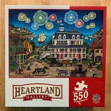 """Fireworks Finale"" 550 Piece Jigsaw Puzzle American Flag Harbor Inn Ships Horses"