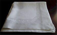 "Beautiful Vintage White  Linen Damask Tablecloth 52"" Fruit Damask Hemstitched"