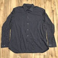 Banana Republic Slim Fit Men's Blue Striped Button Down Shirt Size XL 17-17.5