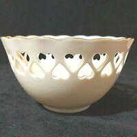 Vintage Lenox Porcelain Ivory Bowl Gold Rim Hearts Rose Inside Bottom Preowned