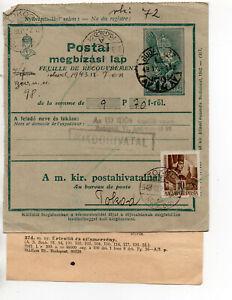 Ungarn Postanweisung mit Bestätigung  2.WK 1943 Tokod - Budapest