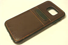 For Samsung Galaxy S6 Edge Brown Genuine Real Leather TPU Credit Card Case Cover