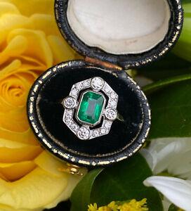 Art Deco Emerald and Diamond Cluster Platinum Ring 0.45ct + 1.05ct