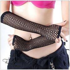 Black Rock Arm Gothic Dance Costume Neon Girls Fingerless Fishnet Gloves Long