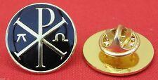 Chi-Rho with Alpha-Omega Lapel Pin Badge Christian Chi Rho Symbol Brooch