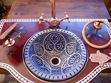 Marocain S bleu peint à la main en céramique rond évier lavabo