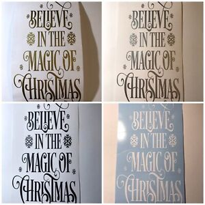 Believe in the magic of Christmas Wine bottle Vinyl decal X1