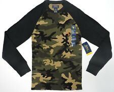Polo Ralph Lauren Men's Camo Waffle Cotton Thermal Shirt with Orange Pony Small